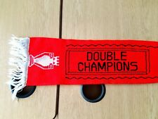 Manchester United Double Champions Scarf. Red Man Utd Football.