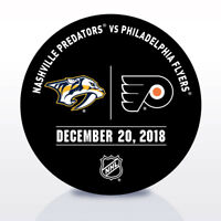 Philadelphia Flyers Issued Unused Warm Up Puck 12/20/18 Vs Nashville Predators