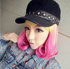 Cosplay LOLITA Gold Blonde & Pink Short Heat Resistant Wig   AE95