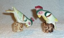 Vintage Parrot Exotic Birds Salt and Pepper Shakers Green Red Yellow Bird
