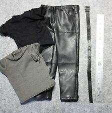 █ Custom 1/6 T800 Black Leather Pant Shirt Set for ZY Hottoys DX10 Muscular Body