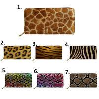 Trendy Leopard Wallet Women Ladies Zip Around Clutch Long Purse Card Holder Bags