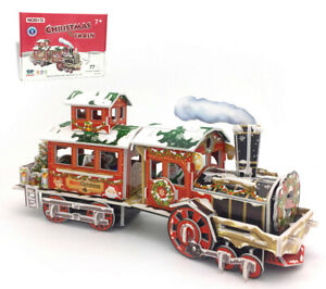 Kids Children 3D Puzzle DIY Game Xmas Gift Train Christmas House With LED Lights