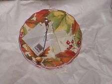 222 Fifth Harvest Festival Appetizer Canape Party Plates  S/4 Fall Thanksgiving