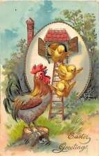 Easter Greetings Rooster and Chicks Egg House Antique Postcard J53637