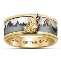 Two Tone 925 Silver Call of the wild Viking Wolf Ring Fashion Men's Band Jewelry