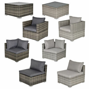 Garden Outdoor Rattan Corner Sofa,Single Sofa,Coffee Table Grey/Deep Grey