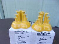 #397 of 500 RARE retired DAFFODIL Fiesta Tripod Pyramid Candle Holder Set NIB !!