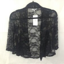 New Look Black Floral Lace Bed Jacket Size 6 Long Sleeved New