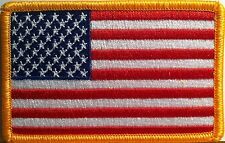 American Flag Embroidered Patch Iron-On Gold Border Usa Us United States #01