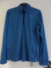 PUMA BLUE 1/4 ZIP - MENS RUNNING TOP - LARGE - STRONG BLUE HEATHER - COOL CELL