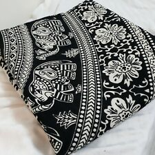 Tapestry Black & White Mandala Elephant Flowers Wall Hanging Hippie Decor 82x82