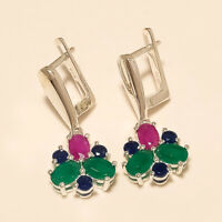 Natural Emerald Ruby Sapphire Earrings 925 Sterling Silver Women Wedding Jewelry