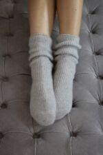 Beautifully Soft 100% Pure Cashmere Bed Socks - Ladies - Light Grey - UK 4-7