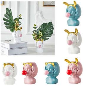 1PC Bubblegum Resin Girl Vase Cute Figurine Planter Making Flower Pot Home Gift