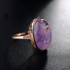 STUNNING LARGE 18K GOLD PLATED PURPLE GEMSTONE & GENUINE AUSTRIAN CRYSTAL RING
