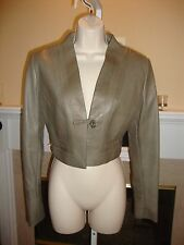 GORGEOUS, SUPER RARE, NEW $4,395 ARMANI OLIVE CROP LEATHER JACKET / BOLERO