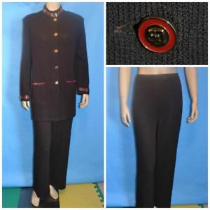 St. John Collection Knits Brown Jacket Pants L 10 12 2pc Suit Leather Buttons