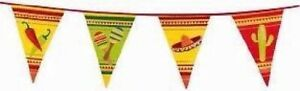 6m Plastic Mexican Fiesta Bunting Garland Pennant Flag Banner Party 19.6ft