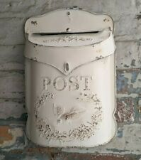 New CREAM Metal Tin Shabby Chic Vintage French Rustic Wall POST Mail Letter BOX