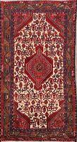 Tribal Geometric Ivory Hamedan Area Rug Wool Hand-Knotted Oriental Carpet 3'x6'
