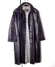 Vtg Distressed Black Leather Ledaspain Women's Button Jacket Goth Punk Sz 16