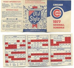 CHICAGO CUBS BASEBALL SCHEDULE 1977 +79