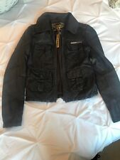 RRP £200 Stunning SUPERDRY BLACK Ladies fitted Leather Jacket small 8-10
