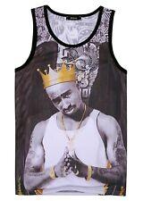 Tupac Crown Tank Top Vest (2pac rapper old school hip hop fresh vest)