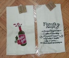 Kay Dee Designs Embroidered Waffle Weave Kitchen Tea Towels - lot of 2