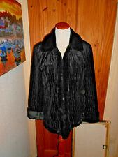 Ladies Stunning Faux Fur Designer Giacca Black Coat Large 14-16.