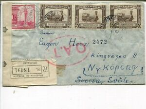 Paraguay OAT red oval 50mm on reg cover to Sweden 8.3.1945