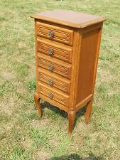 Vintage  Louis XV Style Side Table Night Stand Cabinet 5 Drawers