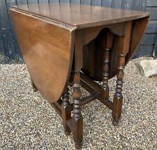 Traditional Vintage Oak & Veneer Drop Leaf Extending Dining Table