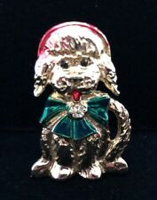 Puppy Dog Signed Sfj Christmas Winter Brooch Pin Gold Tone Vintage 1.75�