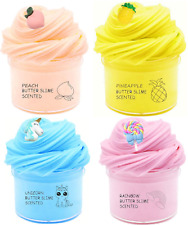 4 Pack Fluffy Slime Scented Unicorn Butter Slime Stretchy Non-Sticky Cotton Toy