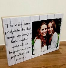 """7x5"""" Personalised Wooden Photo & Text Block Friendship Best Friend Plaque Gift"""