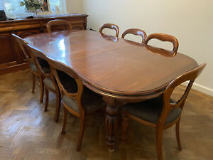solid wood extending dining table (seats 12) and 10 chairs + Solid Side Cabinet