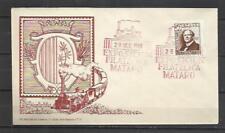 W1B-SOBRE ESPECIAL 1948 TRENES FERROCARRIL EXPOSICION, MATARO BARCELONA ESPAÑA