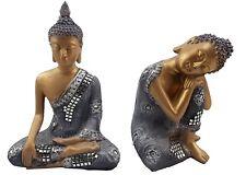 Buddha Ornament Statue Figurine Sculpture Silver Gold Mirror Art Home Decor PAIR