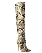 Guess Women's Naddy Over The Knee Boots Python Printed Elastic Material Size 5