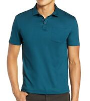 John Varvatos Star USA Men's Short Sleeve Burlington Interlock Polo Peacock Blue