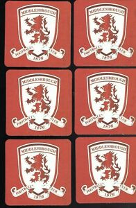 MIDDLESBROUGH F.C. Official Crested Beer Mats / Coasters Pack of 6 FREE Post UK