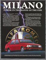 1987 ALFA ROMEO MILANO advertisement, Alfa Romeo ad, Milano sedan