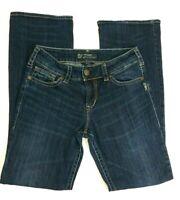 Silver Suki Womens Bootcut Jeans Sz 27 Blue Dark Wash Mid-rise Distressed