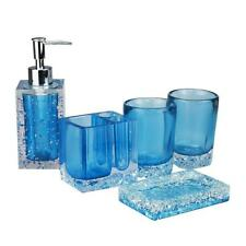 5 Pieces Resin Bathroom Washing Accessory Set Soap Dish And Tumbler Blue