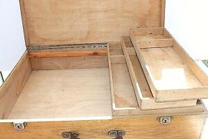 "Artist wooden box case Huge! 25x19x5.25"" 3 removable trays Architect Storage VTG"