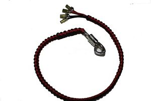 """biker whip motorcycle get back 36"""" punisher skull .45 cal paracord RED and Black"""