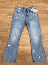 Girls M&S Flower Embroidered Jeans 9-10 Years BN