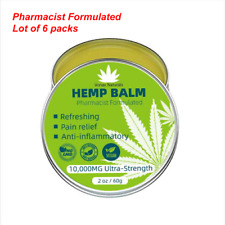 HEMP PAIN RELIEF BALM SALVE OINTMENT 10,000 MG LOT OF 6  (organic, No-GMO,Vegan)